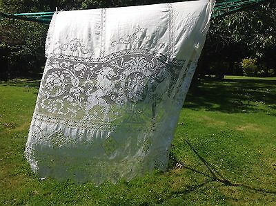 Very Pretty Vintage Single Off White Curtain, Lace Tread Work