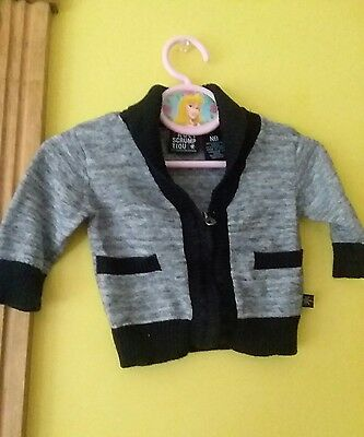 Baby Boy Newborn Dressy Zip Up Cardigan Sweater Gray Black Truly Scrumptious