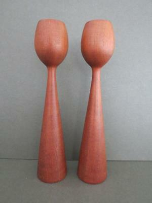 Vintage Danish Teak Candlesticks Mid Century Candle Holders