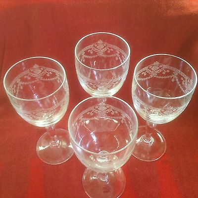 """Dampierre by Cristal D'Arques-Durand Wine Glasses set of 4 clear etched 6 1/2"""""""