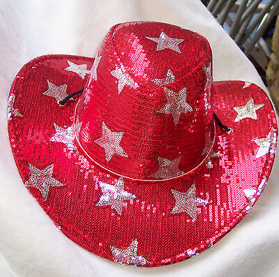Cowgirl/Cowboy Hat RED SEQUIN  flowing veil for your BACHELORETTE PARTY OR EVENT