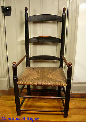 Antique Ladderback Armchair early Paint 18th cent