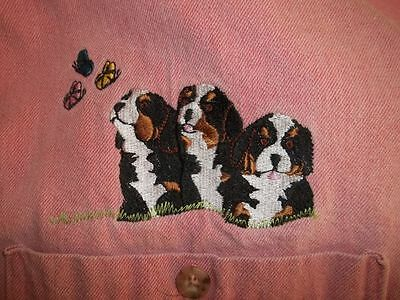 Bernese Mountain Dog Puppies On A Pink Long Sleeve Shirt Size Small. Unique! F/S