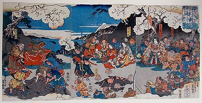 TOYOKUNI III / KUNISADA antique ukiyo-e print color Japanese woodblock(triptych)