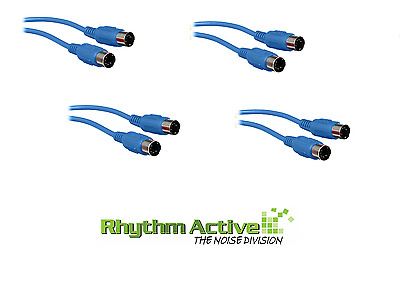 4x HOSA MID-301 BLU MIDI 5 PIN DIN TO 1FT/30CM DATA CONNECTION CABLE CORD BLUE