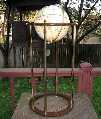 "Vtg Sbc Phone Mid Century Modern Legend 12"" World Globe With Wooden /brass Stand"