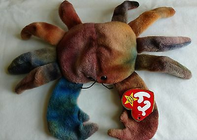 TY Beanie Baby Claude The Crab, Very Rare, WITH 12 errors 1996 MWMT