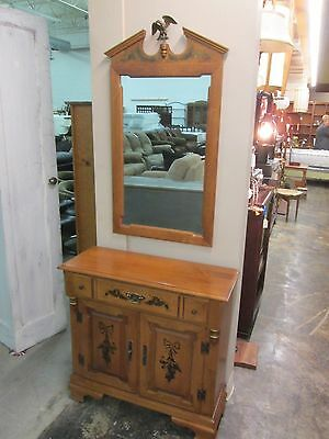 Vintage Tell City Young Republic Maple Console and Mirror