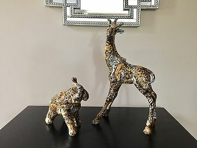La Vie Safari Collection Ceramic Standing Patchwork African Elephant & Giraffe