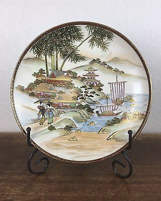 Antique Fine Japanese Meiji Satsuma Shimazu Plate Charger Signed Perfect
