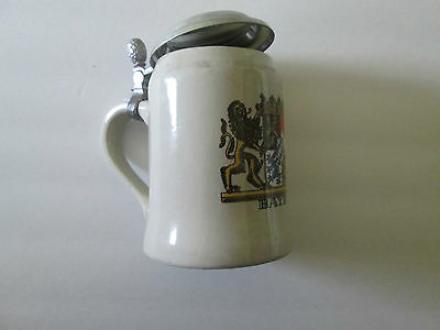 German Bayern Lidded Stein With Acorn Handle Made in West Germany