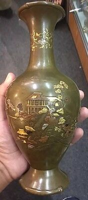 Beautiful Antique Meiji Japanese Mixed Metal Vase With Fine Details Signed