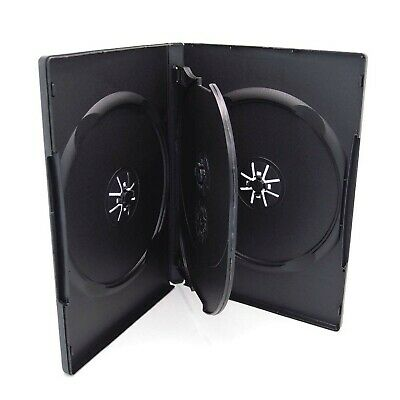 10 Pack Maxtek Standard 14mm Black Quad 4 Disc DVD Cases with Double Sided Fl...