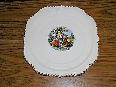 Harker Pottery Square Salad Plates Godey Victorian Colonial Couple
