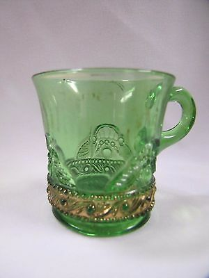 Antique Green Glass Lacy Medallion Pattern Milan Michigan Souvenir Mug EAPG