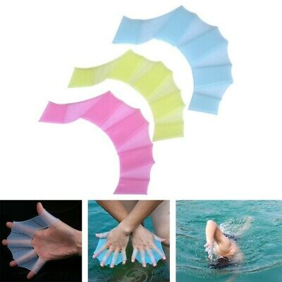 3 Sizes Silicone Swimming Flippers Hand Fins Swim Web Training Glove Gear Paddle