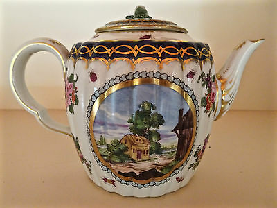 Lovely Antique Royal Worcester Copy Teapot French Hand Painted C19 Godden