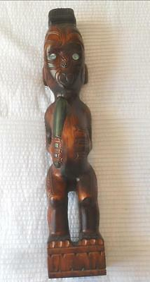 Vintage Carved Wood New Zealand Tribal Maori Warrior Tiki Paua Shell Eyes 50 Cm