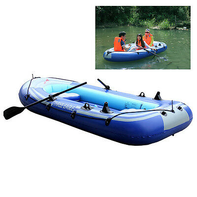 2/3/4 Person Inflatable Dinghy Boat with Oars&Air Pump Fishing Rafting Boat UK