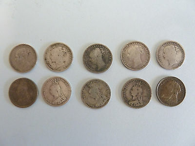 10 VICTORIAN Three Pence SOLID Silver COINS. Pre- 1900