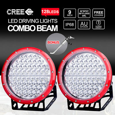 "9"" inch 6968W CREE LED Spot Driving Lights 4X4 4WD Work 12V24V Red Round"