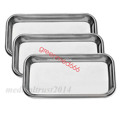3X Dental Stainless Steel surgical Medical Tray dentistry Lab tool instruments