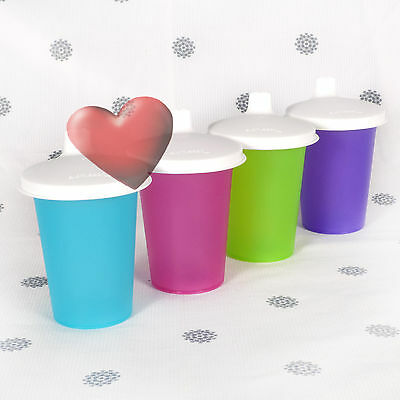 NEW Tupperware 4 x Bell Tumblers with Sippy Seals Purple Pink Aqua Blue Green
