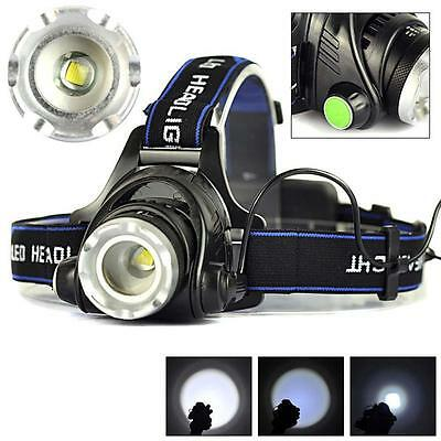 8000LM Zoomable CREE XM-L T6 LED 18650 HeadLamp Torch HeadLight Rechargeable BT