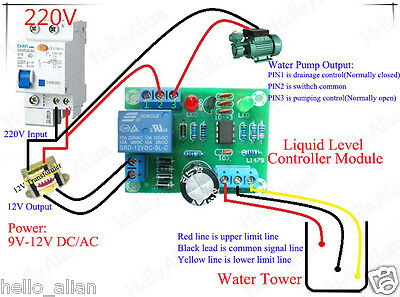 AC/DC 9-12V Liquid Level Controller Module Water Level Detection Sensor for Pump