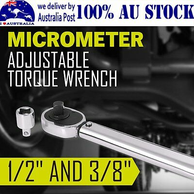 """Dual Drive 1/2"""" and 3/8"""" Micrometer Torque Ratchet Wrench Spanner Tools in Case"""