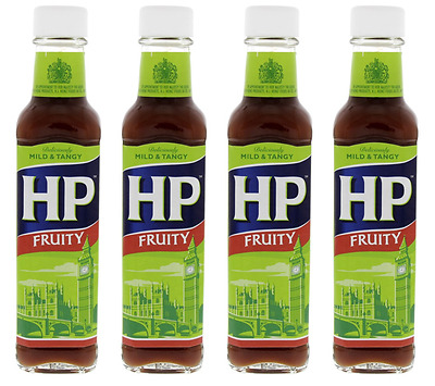 908751 4 x 255g BOTTLE HP FRUITY BROWN SAUCE! DELICIOUSLY MILD AND TANGY!