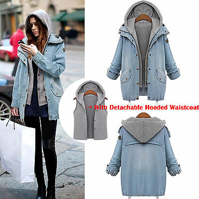 Women's Winter Overcoat Hooded Jeans Coat Jacket Denim Trench Hoodie Parka +Vest