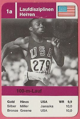 Vintage German Trade Card 1968 Olympics US 100m Gold Medal Winner Jim Hines