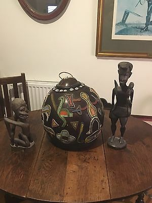 African  Hardwood Ritual Beaded & cowrie shell GOURD Large Decorated ��