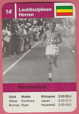 German Trade Card 1968 Olympics Marathon Gold Medal Winner Mamo Wolde Ethiopia