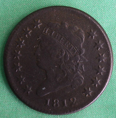 1812 Classic Head Copper Large Cent United States Type Coin Fine Dark One-Cent
