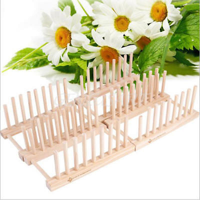 Dish Drainer Wooden Dinner Plates Cup Drying Rack Stand Holder Kitchen Organizer