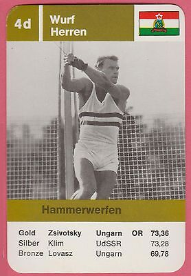 German Trade Card 1968 Olympics Hammer Gold Medal Winner Gyula Zsivotzky