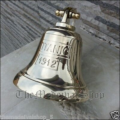 SOLID BRASS MARINE SHIP BELL VINTAGE NAUTICAL DECOR WALL MOUNTING Hanging