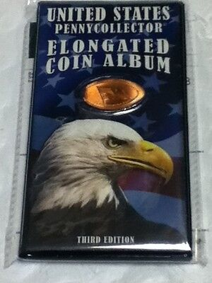 Elongated Pressed Smashed Penny Album Coin Book U.s.a  Eagle New