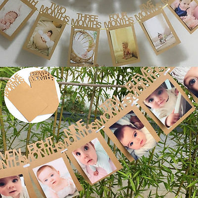 1-12 Months Baby Kids 1st Birthday Party Photo Frame Bunting Banner Home Decor