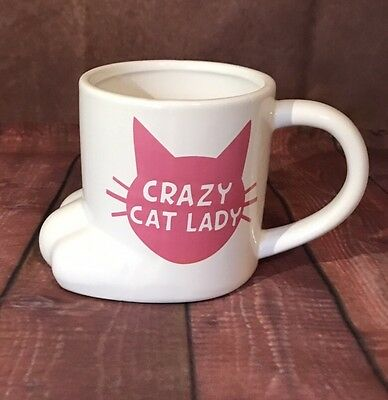 Bigmouth/ Crazy Cat Lady Coffee Mug White Pink Ceramic Paw Shaped Cup