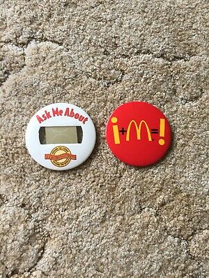 """Lot Of Two McDonald's Employee Buttons 3"""" Name Tag"""