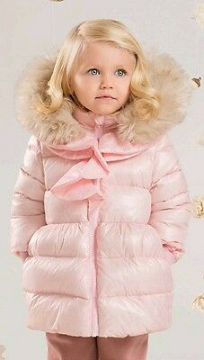 Girls Pink Frill Coat filled with down for warmth and Fur Line