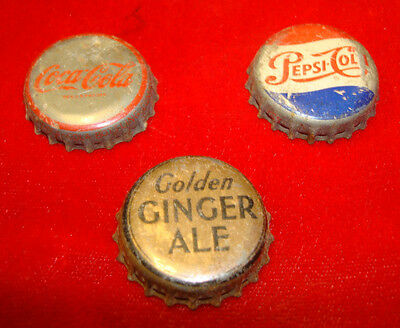 Vintage Cork Bottle Caps / Pepsi, Coca-Cola, Golden Ginger Ale