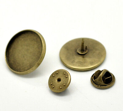 Pack of 10 Bronze Tie Tacks Lapel Scatter Pins with 20 mm Base brooch findings