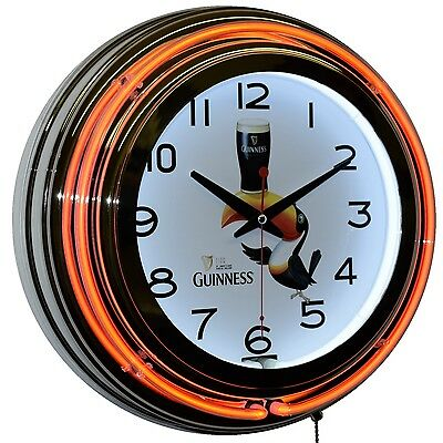 "Guinness Brewery Since 1759 Beer Draught Logo 15"" Orange Double Neon Clock Decor"