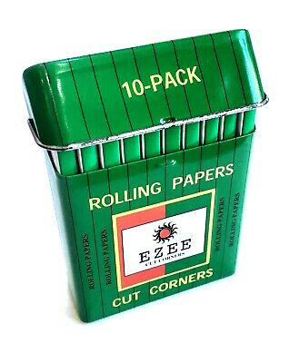 10 EZEE GREEN STANDARD SIZE ROLLING PAPERS CUT CORNERS with TIN BY RIZLA