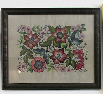 "Victorian Crewel work Tapestry in original Carved Wooden Frame 27""X 22""  69X56CM"