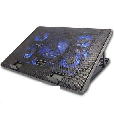 New  Adjustable 5 Fan Laptop Cooler Cooling Stand Pad Blue led with Usb port
